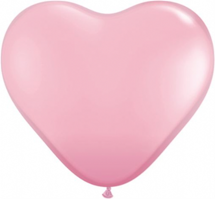 3' Pink Heart Latex Balloons x 2